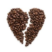 Coffee Beans In Broken Heart Shape
