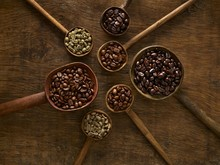 Wooden Spoons With Coffee Beans