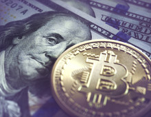Bitcoin And One Hundred US Dollar Notes, Illustration