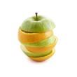 Sliced apple and orange