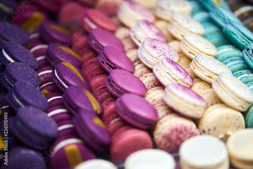 Staande foto Macarons Macarons Multi-colored different types of cookies with cream. big set