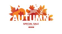 Horizontal Abstract Geometric Design For Autumn Promotion. Fall Offer Banner With Vector Liquid Form And Decor Maple Leaf On Background. Orange Template Graphic Elements With Fluid Dynamic Shape