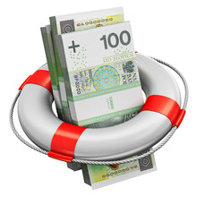 Bundles Of 100 Polish Zloty Money Banknotes In Lifesaver Buoy