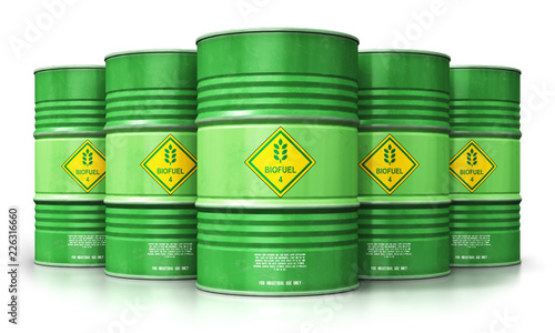 Group of green biofuel drums isolated on white background Wallpaper Mural