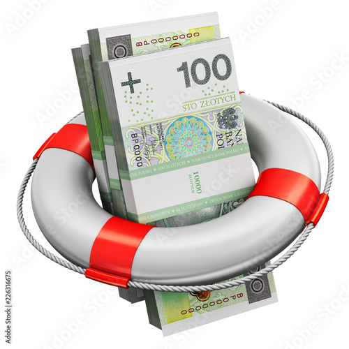 Pinturas sobre lienzo  Bundles of 100 Polish zloty money banknotes in lifesaver buoy