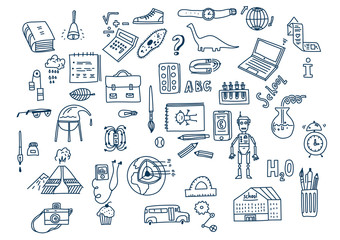 Hand drawn vector doodle school icons and symbols.