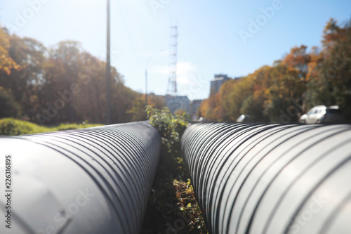 Fotografia Industrial pipes on street construction