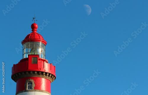 Deurstickers Vuurtoren Leuchtturm am Pointe Saint Mathieu, Bretagne, Frankreich