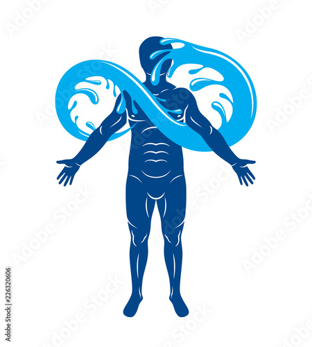 Vector Graphic Illustration Of Muscular Human Mystic