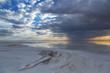 Natural salt on Lake Elton at sunset, Russia