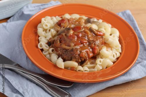 Salisbury steak with macaroni