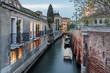 Kanal in Venedig; Italien; Abendstimmung