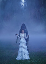 Dark Queen With Neat Hairdo In A White Vintage Dress With A Floral Pattern And A Silver Necklace Standing In A Forest Full Of Thick Purple Fog Next To A Dementor Creative Color. Art Harry Potter.