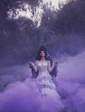 Dark Queen In A White Vintage Luxurious Dress And A Silver Expensive Necklace In The Arms Of A Dementor Standing In A Purple Fog With Her Eyes Closed And Says A Prayer. Art Harry Potter