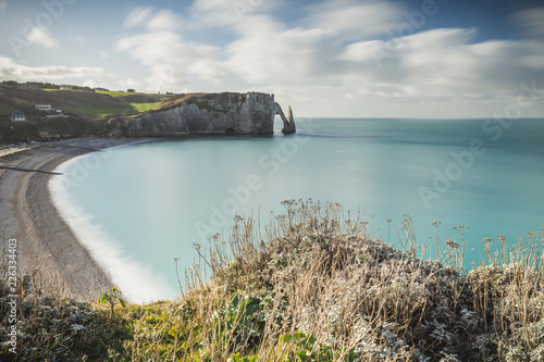 View of Etretat beach and white cliffs in Normandy, France Wallpaper Mural
