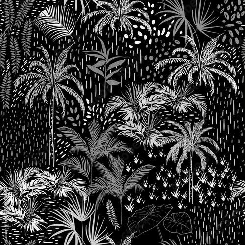 ciemny-monotonowy-wektor-tropikalny-wzor-na-czarno-biale-z-palma-liscie-rosliny-egzotyczne-drzewa