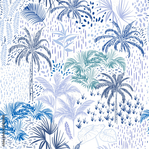 fototapeta na lodówkę Beautiful seamless itropical forest pattern on white background. Landscape with palm trees,exotic wild and plants