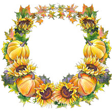 Colorful Autumn Wreath With Pumpkins, Sunflowers, Leaves And Branches. Watercolor On White Background.