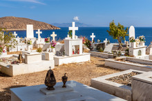 Greek Cemetery With A View Of The Sea On The Island Of Serifos. Greece