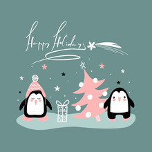 Vector Drawings Funny Penguins With Gifts And Trees For The Winter Holidays With The Inscription