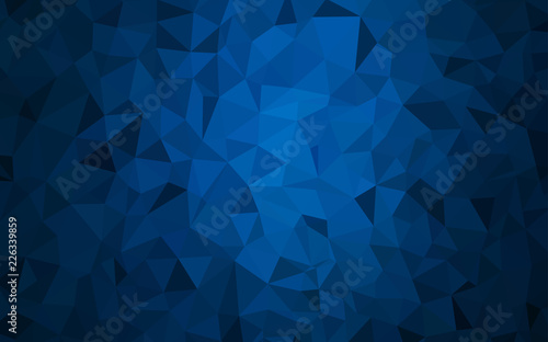 Photographie  Dark BLUE vector polygon abstract background.