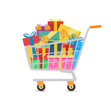 Gift Boxes In A Shopping Cart
