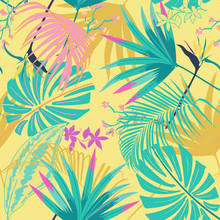 Vector Seamless Beautiful Artistic Summer Pastale Bright Tropical Pattern With Exotic Forest. Colorful Cute Original Stylish Floral Background Print,