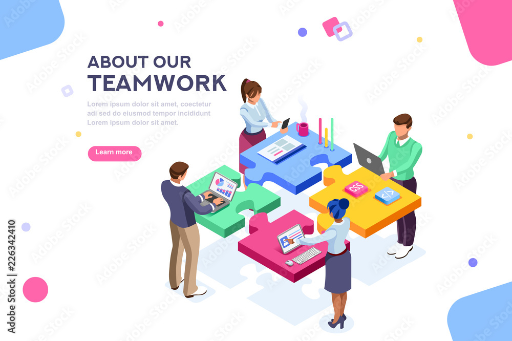 Fototapeta Startup employees. Goal thinking, infographic of puzzle. Cooperation construction by agency group to create a team. Concept for webdesign. White isolated concept with characters flat isometric Vector