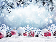 Christmas Card - Baubles On Sn...