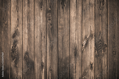 Old grunge dark textured wooden background,The surface of the old brown wood texture, top view brown pine wood paneling - 226347867