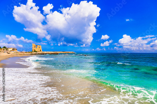 Coastal landscape of Calabria. Briatico, view with old saracen tower. Italy