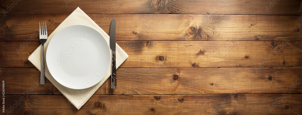 Fototapety, obrazy: plate, knife and fork on napkin cloth