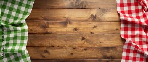 Obraz na plátně checked tablecloth at wooden  background