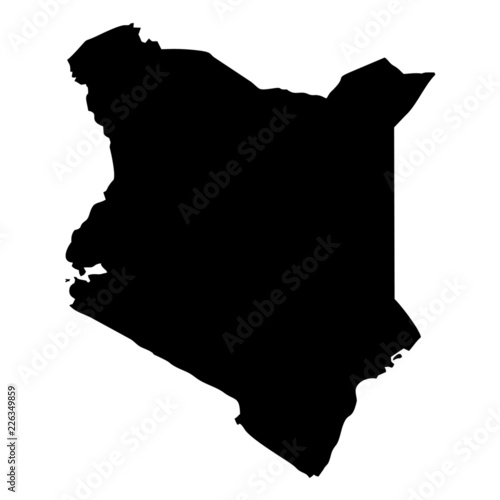 Black map country of Kenya Wall mural