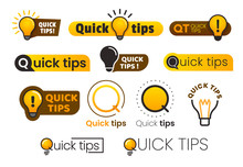 Logo Quick Tips. Yellow Lightbulb Icon With Quicks Tip Text. Lamp Of Advice Idea Vector Banner Set