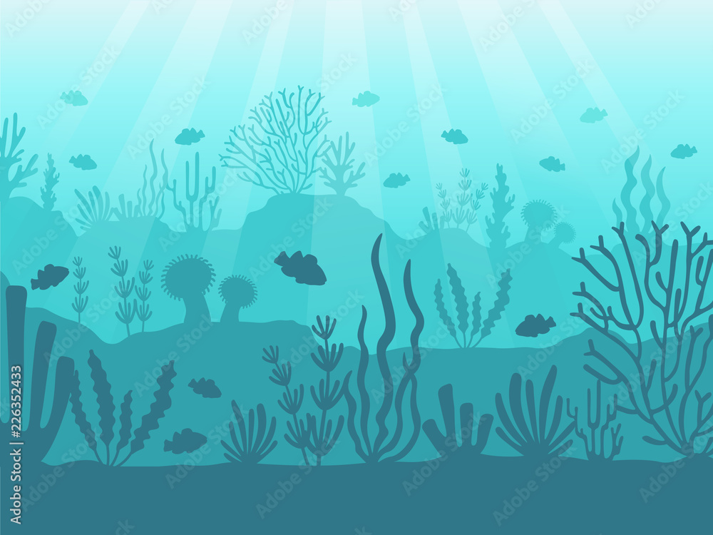 Fototapeta Underwater seascape. Ocean coral reef, deep sea bottom and swimming under water. Marine corals background vector illustration