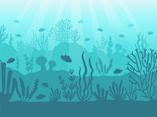 Underwater Seascape. Ocean Coral Reef, Deep Sea Bottom And Swimming Under Water. Marine Corals Background Vector Illustration