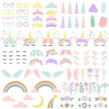 Pony Unicorn Face Elements. Pr...