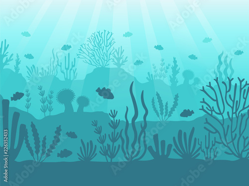Obraz Underwater seascape. Ocean coral reef, deep sea bottom and swimming under water. Marine corals background vector illustration - fototapety do salonu