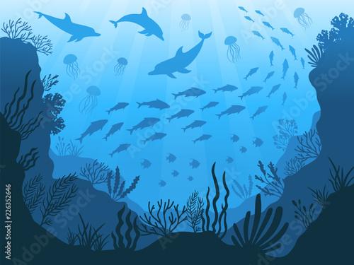 Fototapeta Underwater ocean fauna. Deep sea plants, fishes and animals. Marine seaweed, fish and animal silhouette vector background illustration obraz
