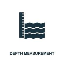 Depth Measurement Icon. Monoch...