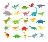 Fototapeta Dinusie - Cartoon dinosaurs. Baby dino prehistoric animals. Cute dinosaur vector collection