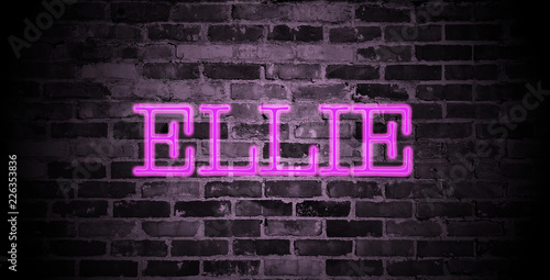 Photo  first name Ellie in pink neon on brick wall