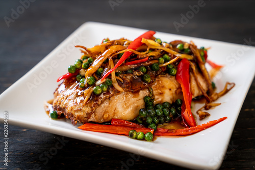 stir-fried spicy and herb with grouper fish fillet Canvas Print