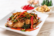 Stir-fried Spicy And Herb With Grouper Fish Fillet