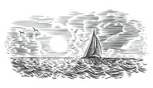 Sailboat/yacht In The Sea Engraving Style Illustration. Vector.