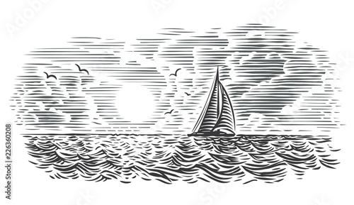 Fototapeta Sailboat/yacht in the sea engraving style illustration. Vector. obraz