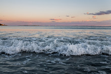 Waves At Sunset With Cotton Candy Sky At Pine Point Beach In Scarborough Maine