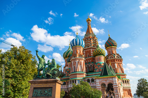 Saint Basils cathedral and monument to Minin and Pozharsky on Red Square in Moscow Wallpaper Mural