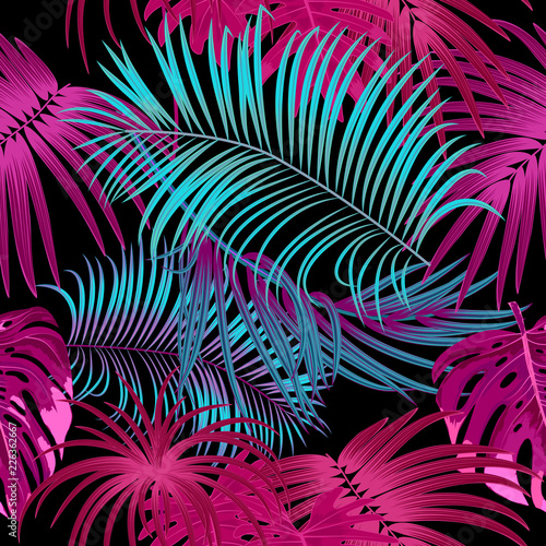 Türaufkleber Künstlich Tropical jungle palm leaves seamless pattern